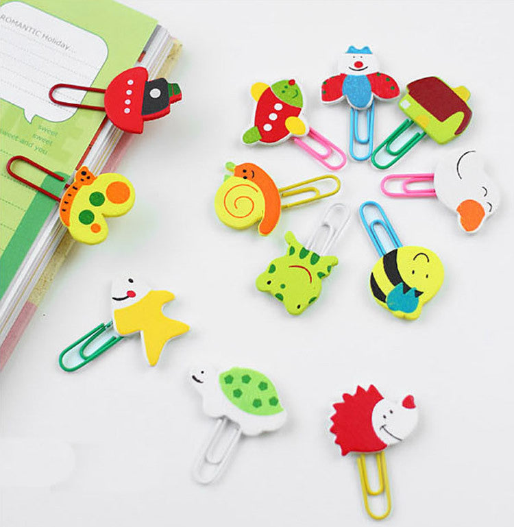 Cute Cartoon Animal Pattern Wooden Paper Note Clips Bookmark Bookmarker Paperclip-12pcs/set