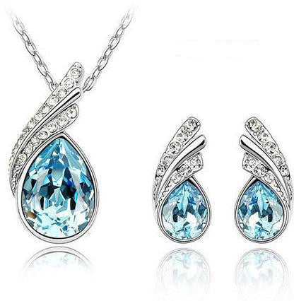Crystal Water drop leaves Earrings necklace jewelry sets for women