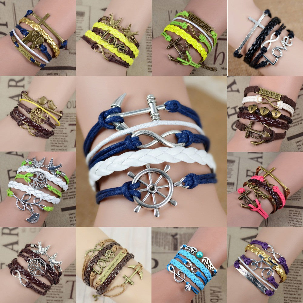Fashion Vintage Infinity Anchor Hook Artificial Leather Bracelet Men Women Bracelets & Bangles Jewelry