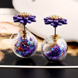 Trendy Ball Double Side Stud Earrings Glass Beads Elegant Sunflower Statement Earrings Summer Style Fashion Jewelry