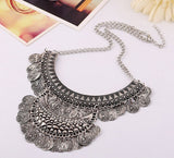 Bohemian Jewelry Vintage Gold Silver Chain Tassels Statement Alloy Choker Collar Necklace Women Gypsy Necklaces & Pendants