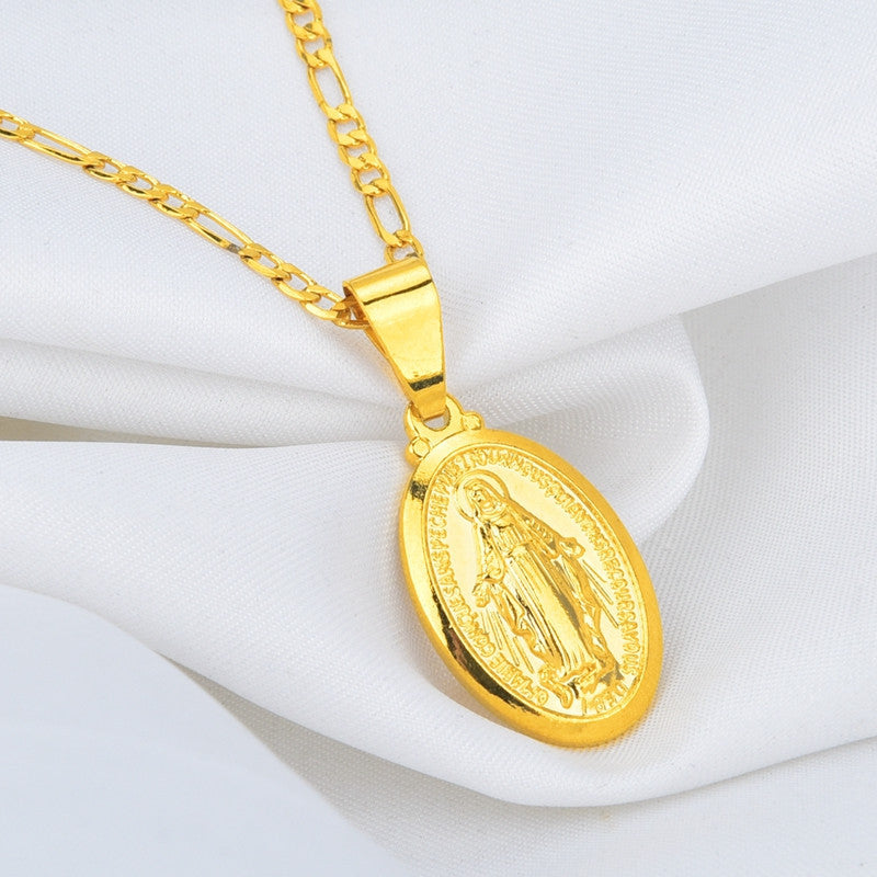 Gold Plated Catholic Religious Goddess Virgin Mary Pendant Necklace Jewelry