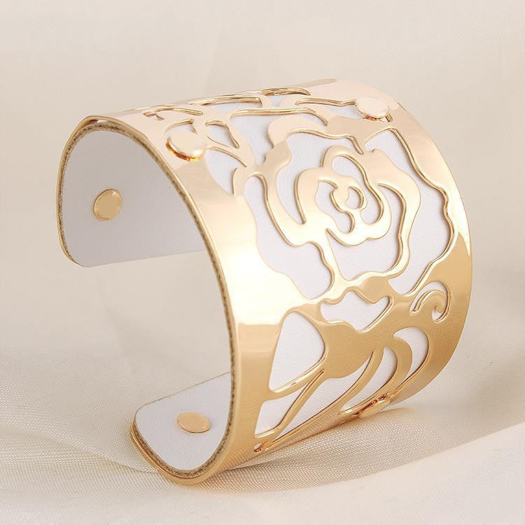 Gold plated Cuff Bracelets H Love The Rose Flowers Bangles For Women Femme Jewelry Wide leather Bracelet Bangles