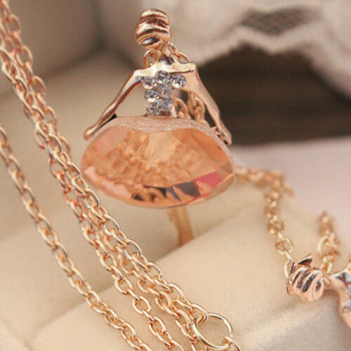 Sweater Chain Shiny Crystal Ballet Girl Pendant Necklace Statement Long Necklaces Jewelry For Women