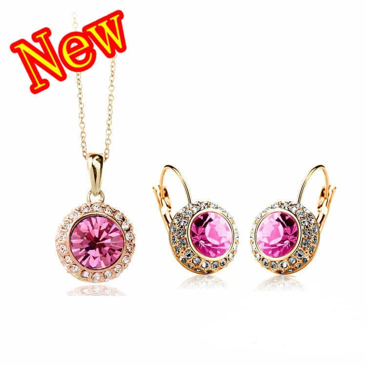 8K Rose Gold Plated Rhinestone Vintage Moon River Crystal Jewelry Sets necklaces drop earrings Fashion Jewelry for women