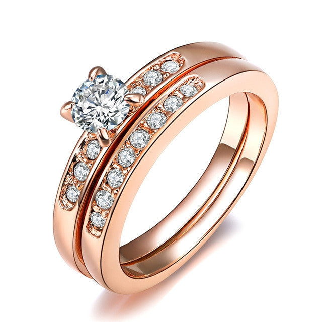 Fashion 18K Rose Gold Plated with Pave Band 0.5ct Brilliant Cubic Zirconia Wedding Ring Set