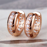 Gold Rose/White/Platinum Plated Earring for Women Round White Crystal Cubic Zirconia Hoop Huggies Earrings for Women