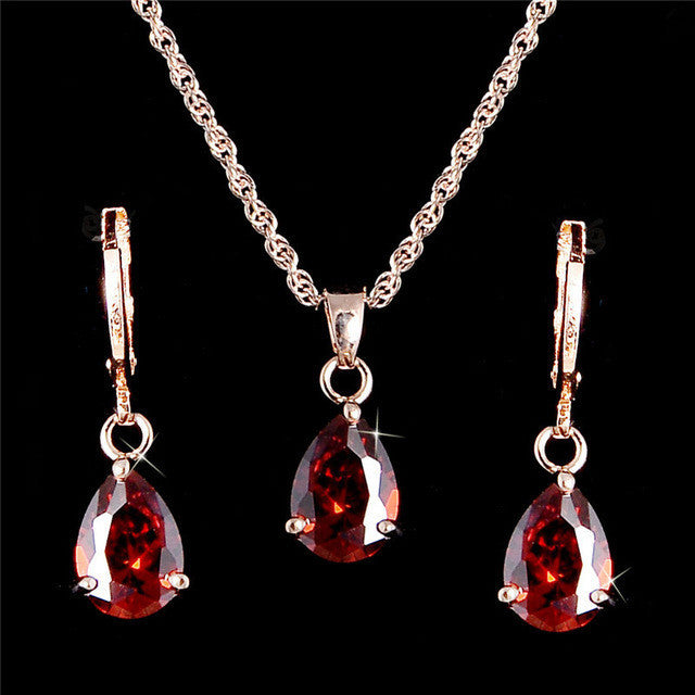 Fashion 18k gold filled AAA Oval Cut cubic zirconia CZ Charming necklace Cute pendant drop earrings jewelry set