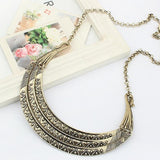 Vintage Metal Collares Three Layers Gold Statement Crescent Tribal Bib Women Collar Necklace