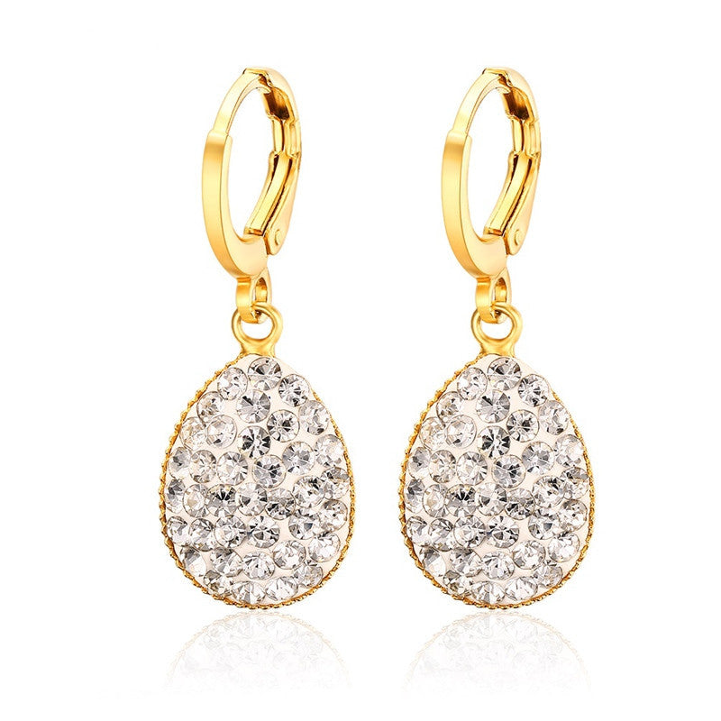 Crystal Heart Drop Earrings For Women Girl Gold Plating Earring Wedding brincos