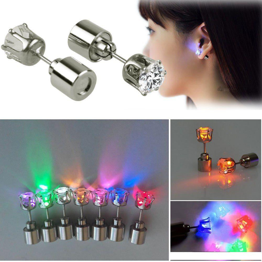 Light Up LED earrings Studs Flashing Blinking Stainless Steel Earrings Studs Dance Party Accessories unisex for Men Women 1 Pair