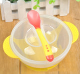 1 Set Baby Suction Cup Bowl Temperature Sensing Spoon and Cover Slip-resistant Solid Feeding Set for Learnning Dishes