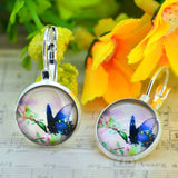 Spring Butterfly Earrings Silver Plated French Lever Back Glass Cabochon Copper Earrings For Women Vintage Earings