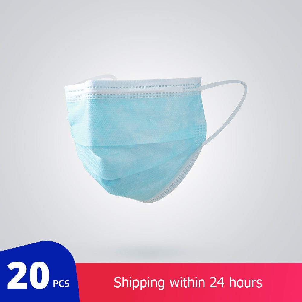 20 pcs/Bag 3 Layer Non-woven Dust Face Mask Thickened Disposable Mouth Mask Dust Filter Safety Mask