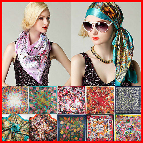 Silk Square Scarf Women Fashion Brand High Quality Cheap Imitated Silk Satin Scarves