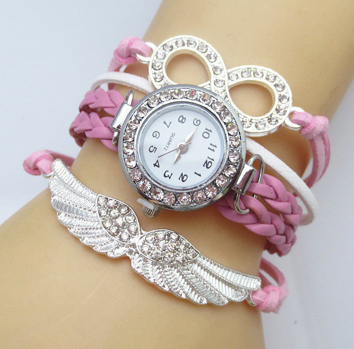 New Fashion 8 Letter Wing Bracelet Watch Women Rhinestone Leather Strap Quartz Dress Watches Ladies Wristwatches