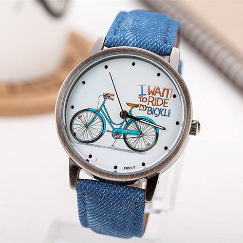 Fashion Casual Women Girls Students Gift Bike Watches Vintage Wristwatches Canvas Fabric Strap Bicycle Quartz Watch