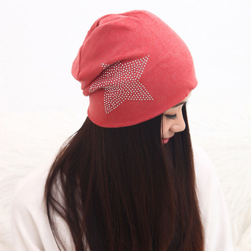 Autumn Fashion New Knit Baggy Beanie Hat with Star Female Warm Winter Hats for Girls Women Beanies Bonnet Head Cap
