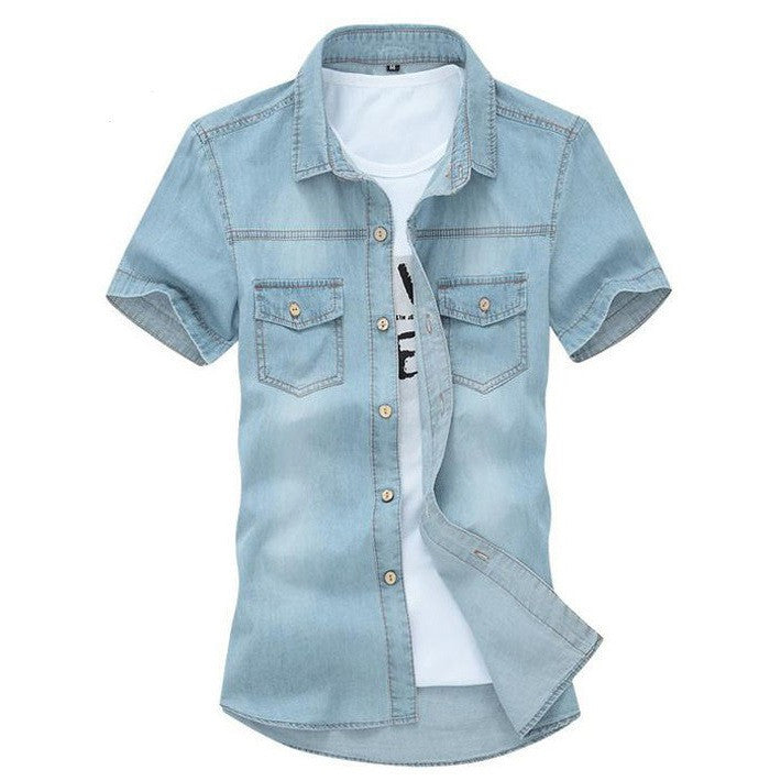 Hot Sale Men's Fashion Solid Short-sleeved Shirt Male Casual Comforatble Korean Style Turn-down Collar Denim Short
