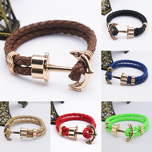 Unisex Couples Bracelet Men Anchor Woven Leather Bracelets&Bangles Multilayer Punk Charming Rope Pulseiras Femininas Hand Chain