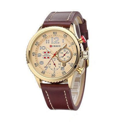 New CURREN Genuine Leather Strap Gold Business Watch Quartz Luxury Sport Watch Men Brand Watch relogio