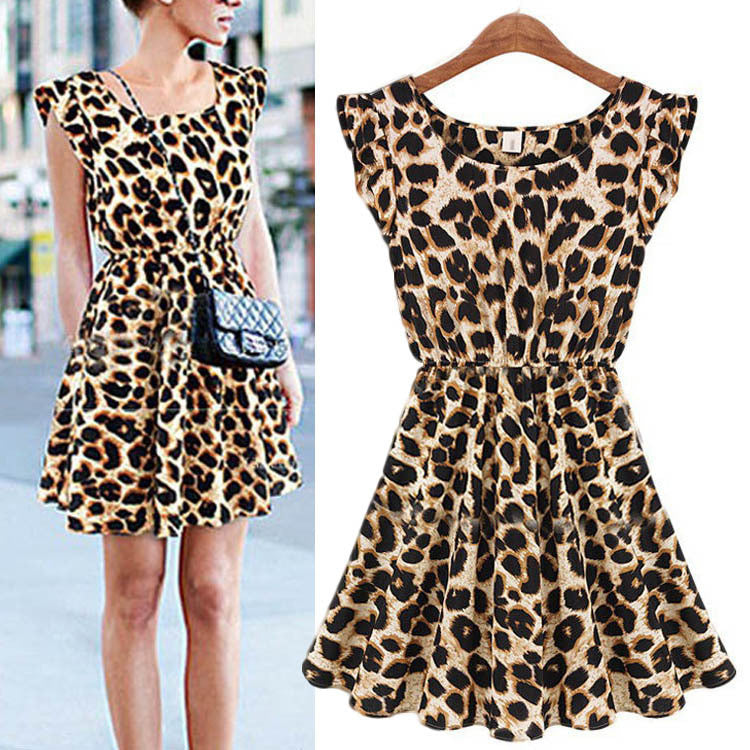 New Fashion Womens Summer Casual Pleated Leopard Print Dress Sundress Crew Neck Cap Sleeve Mini Club Dresses