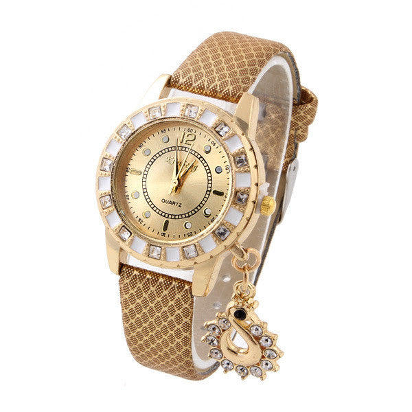 Fashion Wristwatch Swan Pendant Quartz Watch Crystal hours gold Leather Strap Rhinestone watches