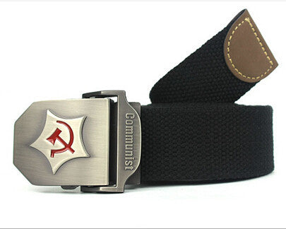 New Men Belt Thicken Canvas Communist Military Belt Army Tactical Belt High Quality Strap