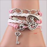 New handmade bracelet lock+key +Cupid's Arrow Charms Infinity Bracelet white&pink leather Braclet. Best Couple Gift