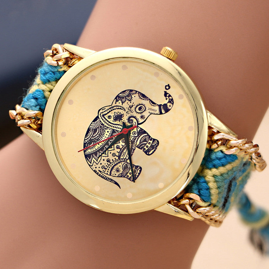 New watches women luxury brand Handmade Braided Elephant Friendship Bracelet GENEVA Watch Ladies Quartz Wristwatches