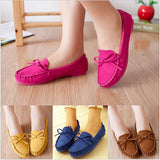 New Trendy Casual Flat Heel Shoes Bow Knot Round Toe Slip Candy Color Loafer Shoes Autumn Comfortable Women Shoes