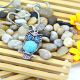Vintage Silver Color Jewelry New Round Turquoise Statement Necklace Crystal Owl Collares Summer Style Fine Jewelry