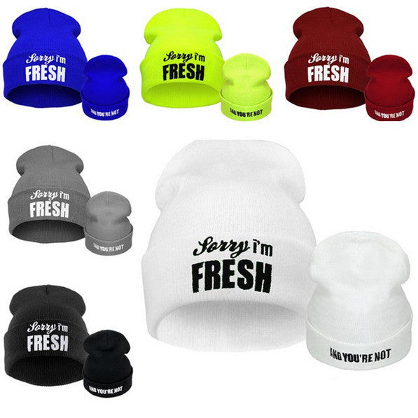 Winter Male Hat Sorry I'm Fresh Letters Beanie for Men and Women Knitted Skullies&Beanies female Hip Pop B-boy Caps Gorroa