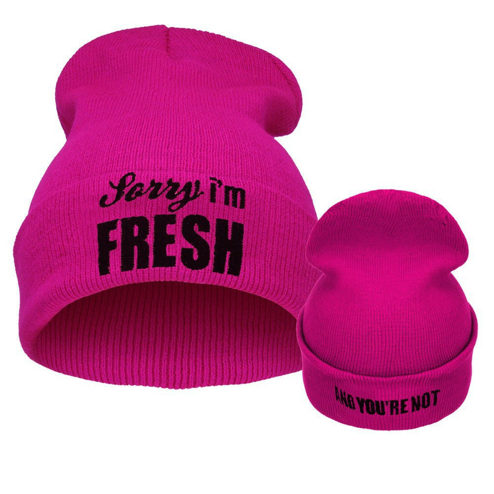 Winter Male Hat Sorry IM Fresh Letters Beanie For Men  Buycoolprice