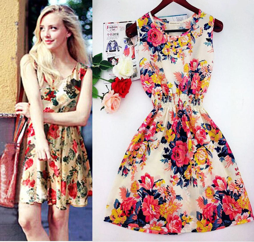 Hot sale ! Spring summer autumn new Korean Women casual Bohemian floral leopard sleeveless vest printed beach chiffon dress
