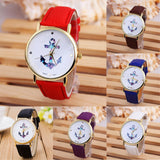 New Fashion Relogio Women Watch Ladies Vintage Flower Watch Anchor Leather Quartz Clock Casual Dress Watches