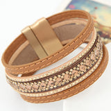 Bohemian Handmade Full Stone Shining Layer Leather Bracelets Bangles for Women Magnetic Wristband brazaletes pulseras mujer