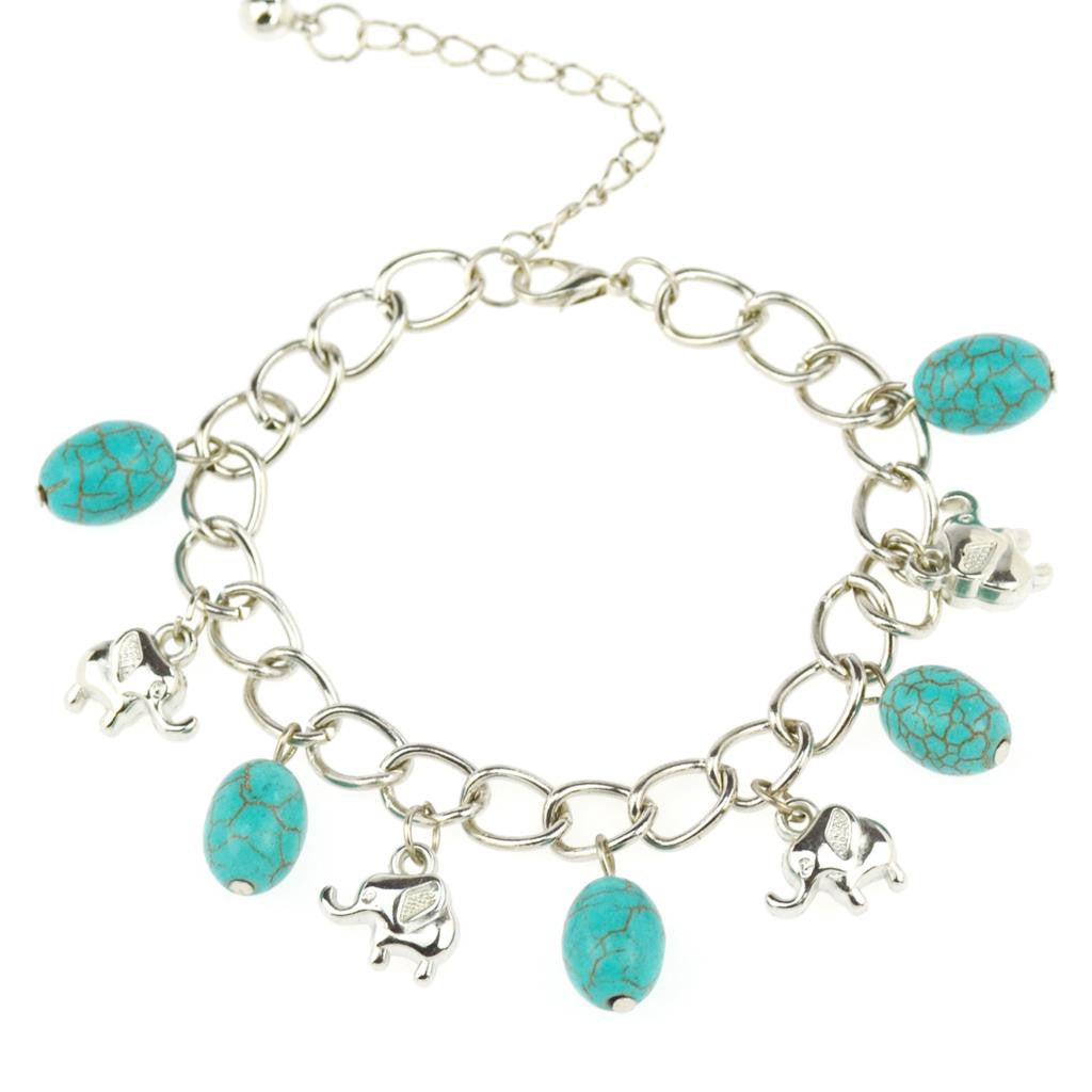 Fashion Elephant Bangles&Bracelets Vintage Beads Turquoise Chain Bracelets Silver Color for Women Jewelry