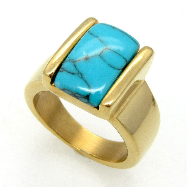 New Arrival Stainless Steel Unisex Natural Turquoise Rings Suitable For Both Men And Women Fashion Ring Lead Nickel Free
