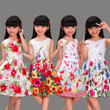 New Girls Dresses 100% Cotton Fashion Floral Colorful Party Birthday Casual Kids Clothing Size 4-12