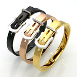 The Luxury Stylish New Fashion Men/Women Stainless Steel Bangles 18K Gold Plated Adjustable Belt Buckle Bracelets & Bangles