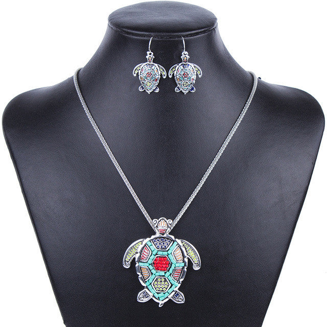 Fashion Jewelry Sets High Quality Gold Plated Beads Multicolor Sea turtle Design Woman's Necklace Set Wedding Jewelry