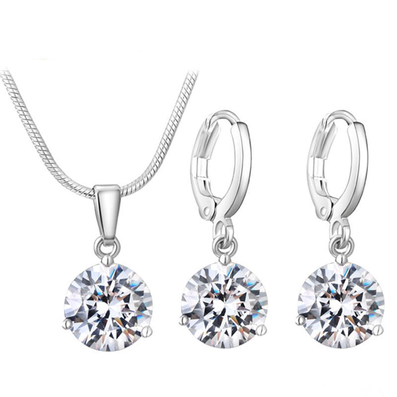 Jewelry Sets for Women Round Cubic Zircon Hypoallergenic Copper Necklace/Earrings Jewelry Sets