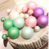 Hot Selling fashion women Genuine Brand Double Side matte Pearl Stud Earrings