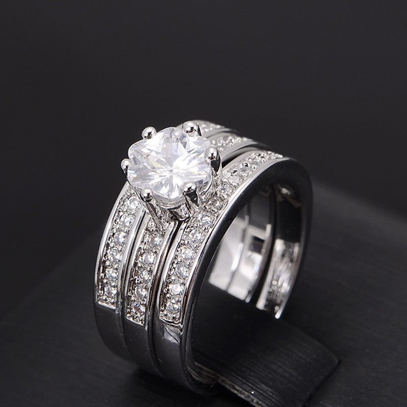 High Quality Eternity CZ Diamond Ring Lovers Set White Gold Plated Engagement Wedding Rings for Women Couple Jewelry