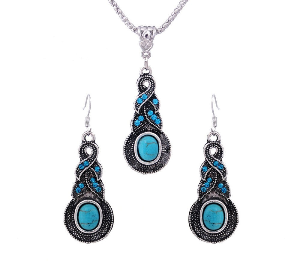 Women Jewelry Tibetan Silver CZ Crystal Chain Pendant Necklace Earrings Set Round Turquoise Jewelry sets