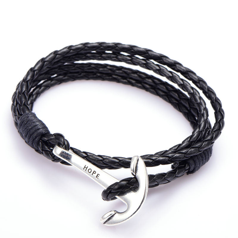 PU Leather Men Bracelet Jewelry Man Anchor Bracelet Wristband Charm Braclet For Male Accessories Hand Cuff