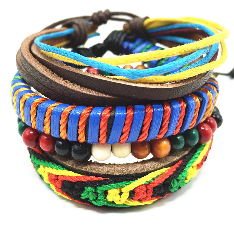 Punk Genuine Wrap Leather Bracelets Men For Women Cuff Jewelry Accessories
