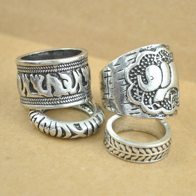 New Vintage Punk Ring Set Unique Carved Antique Silver Elephant Totem Leaf Lucky Rings for Women Boho Beach Jewelry-4pcs/set