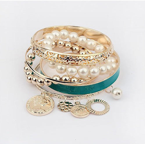 Fashion Jewelry Pearl Coins Element Avatar Statement Charm Multilayer Bangle and Bracelet For Women
